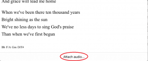 Attach Audio in Setlist Helper for iSO