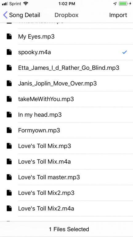 Dropbox Audio Import