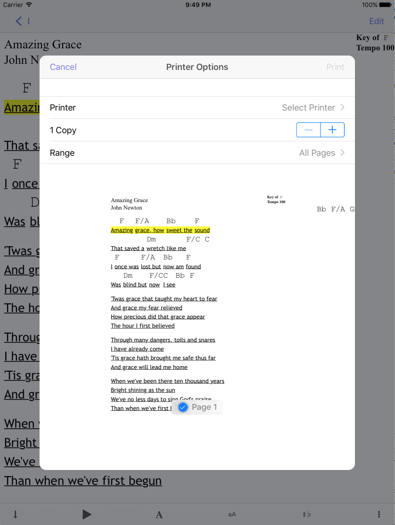 System Print Screen in Setlist Helper for iOS