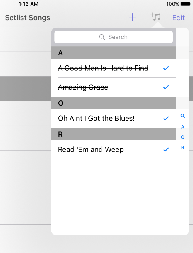 From Catalog in Setlist Helper for iOS