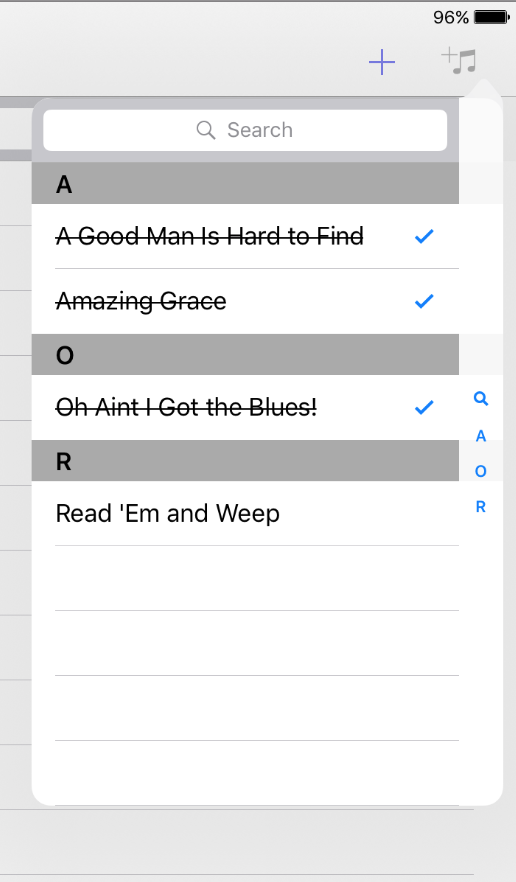 Song Catalog Selector Tags in Setlist Helper for iOS