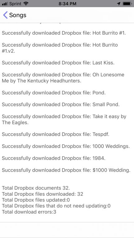 Update Dropbox Files Overview